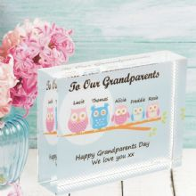 Grandparents Owl Crystal - Personalised Gift From Grandchildren - Grandparents Day Keepsake